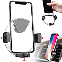Linkstyle Air Vent Phone Holder, Universal Gravity Auto-Locking Car Phone Mount Holder Cradle Compatible with iPhone XS/X/8/7, Samsung Galaxy S9 Plus/S8 Plus, Google, LG, Huawei and More- Silver