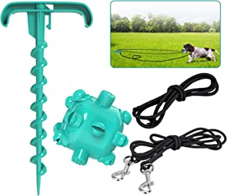 JOEJOY Dog Tug Toy with Tie-Outs Stake Molar Ball, Outdoor Pet Rope Chew Toy for Aggressive Chewers Rubber Ball Teething C...