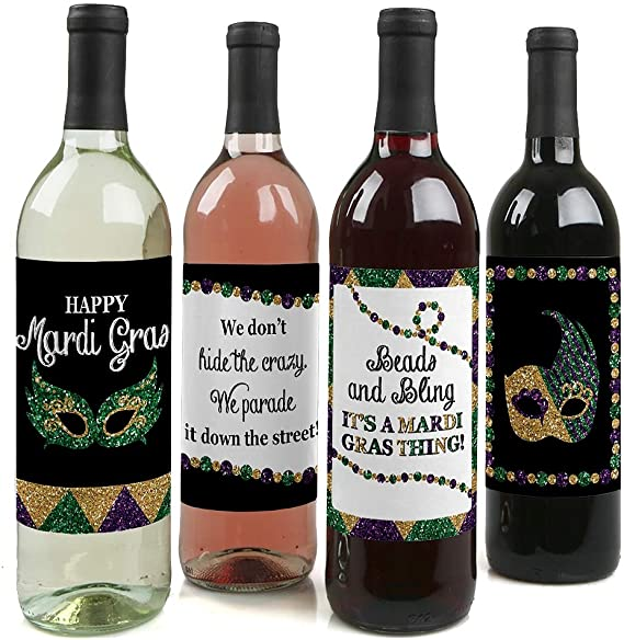 Mardi Gras - Masquerade Party Decorations for Women and Men - Wine Bottle Label Stickers - Set of 4