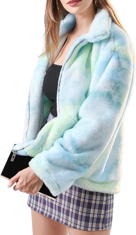 Blotona Women´s Tie Dye Faux Fur Coat Long Sleeve Jacket Lapel Plush Zipper Casual Outwear with Pocket Warm Clothes