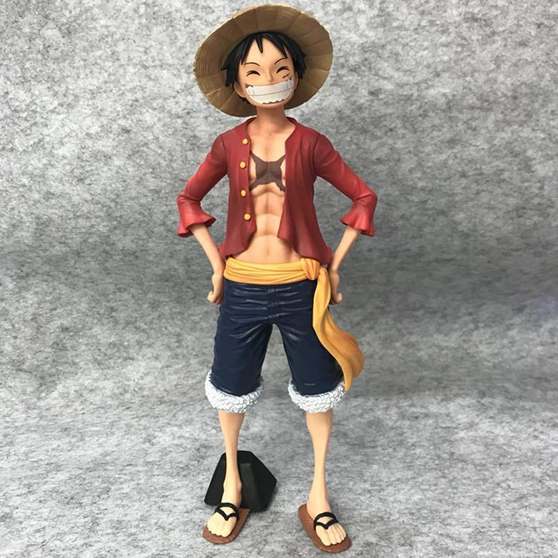 プロフェッショナルこする費用PVCアニメワンピースモデル、アニメの像、子供のおもちゃのコレクションの像、デスクトップの装飾玩具像のおもちゃモデル麦わら帽子ルフィ(17cm) SHWSM