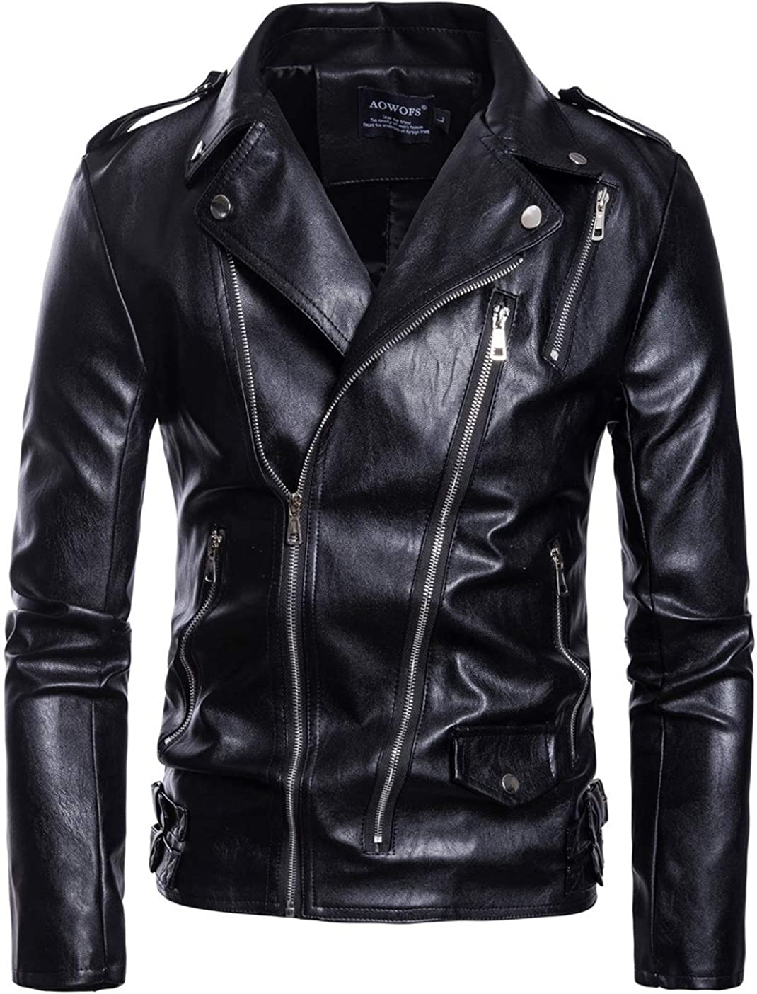 chouyatou Men's Cool Stylish Long Sleeve Biker Faux Leather Jacket Zip Decoration