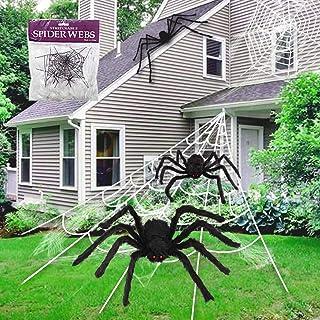 ديكور الهالوين من شوغاروم مع شبكة عنكبوت هالوين بطول 4.6 متر + عنكبوت عملاق 76.2 سم + عنكبوت شعر مخيف + 2 عناكب سوداء صغير...