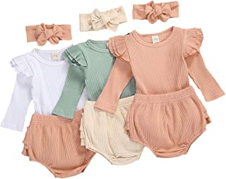 Argorgeous Newborn Baby Girl Clothes Long Sleeve Ribbed Ruffle Romper Shorts with Headband Fall 3Pcs Outfits