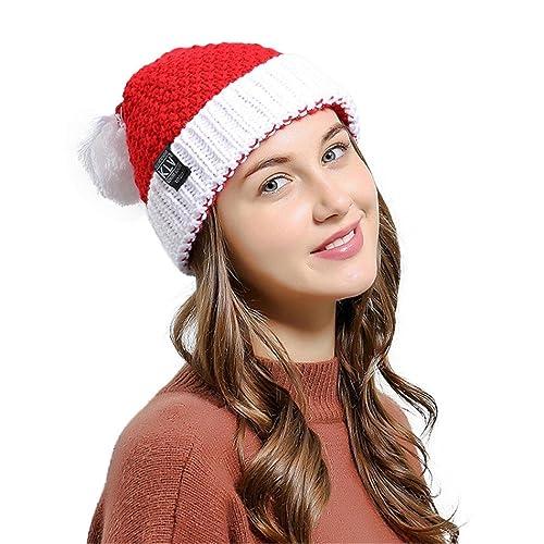 07756f6b17eed Men Women Baggy Warm Crochet Winter Wool Knit Ski Christmas Caps Xmas Hat  beanie (red