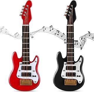 2 Pieces Miniature Guitar Toy Miniature Dollhouse Guitar Miniature Musical Instrument Electric Guitar Bass Toy for Dollhou...