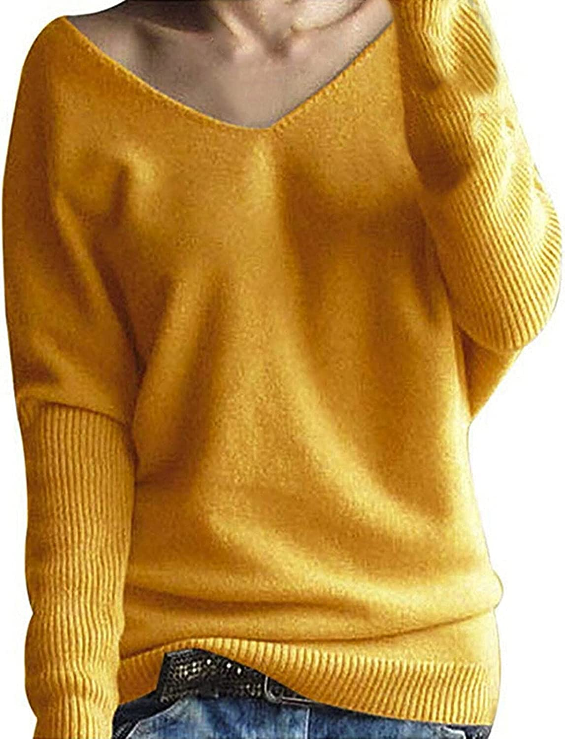 Batwing Sleeve Sweater Women Autumn Winter Solid Knitted Sweaters Pullover Tops