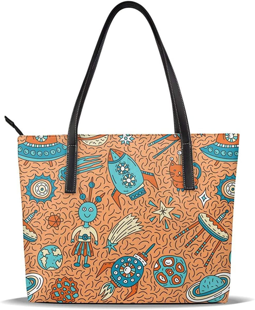 Blue Astronaut Art Orange PU Leather Hand Pattern Casual Printed Max 76% Fees free!! OFF