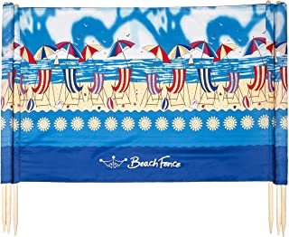 Beach Scene 20 ft Beach Windscreen, Privacy Screen, Wind Blocker, with Mallet and Carry Bag