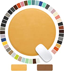 Besezx Mouse Pad,Round Mouse Pad,PU Mouse Pad,Leather Mouse Pad with Stitched Edge Micro-Fiber Base with Non-Slip Waterproof,Mouse Pad for Computers,Laptop,Office & Home,9 x 9 Inch (Light Yellow)