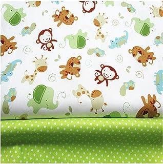 FUYA  - Tessuto di cotone per patchwork con motivo con scimmie, 160 x 100 cm, 2 pezzi, per la decorazione di indumenti e l...