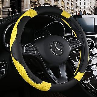 BINSHEO Leather Steering Wheel Cover, Breathable, Anti Slip & Odor Free, Black Yellow