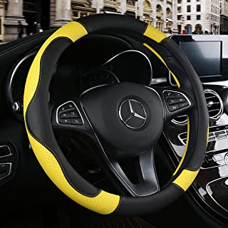 BINSHEO Leather Steering Wheel Cover, Breathable, Anti Slip & Odor Free, Black and Yellow