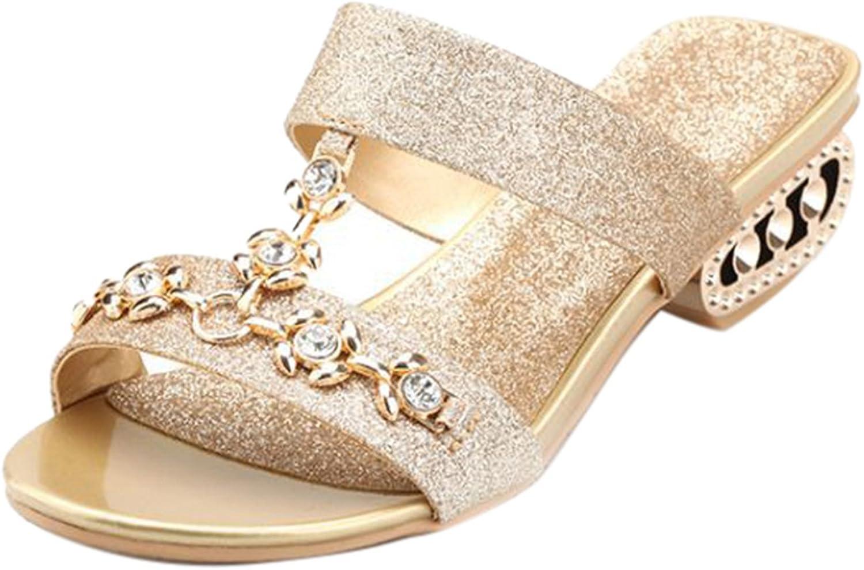 Oncefirst Women I Shape Bling Rhinestone Slide Sandal