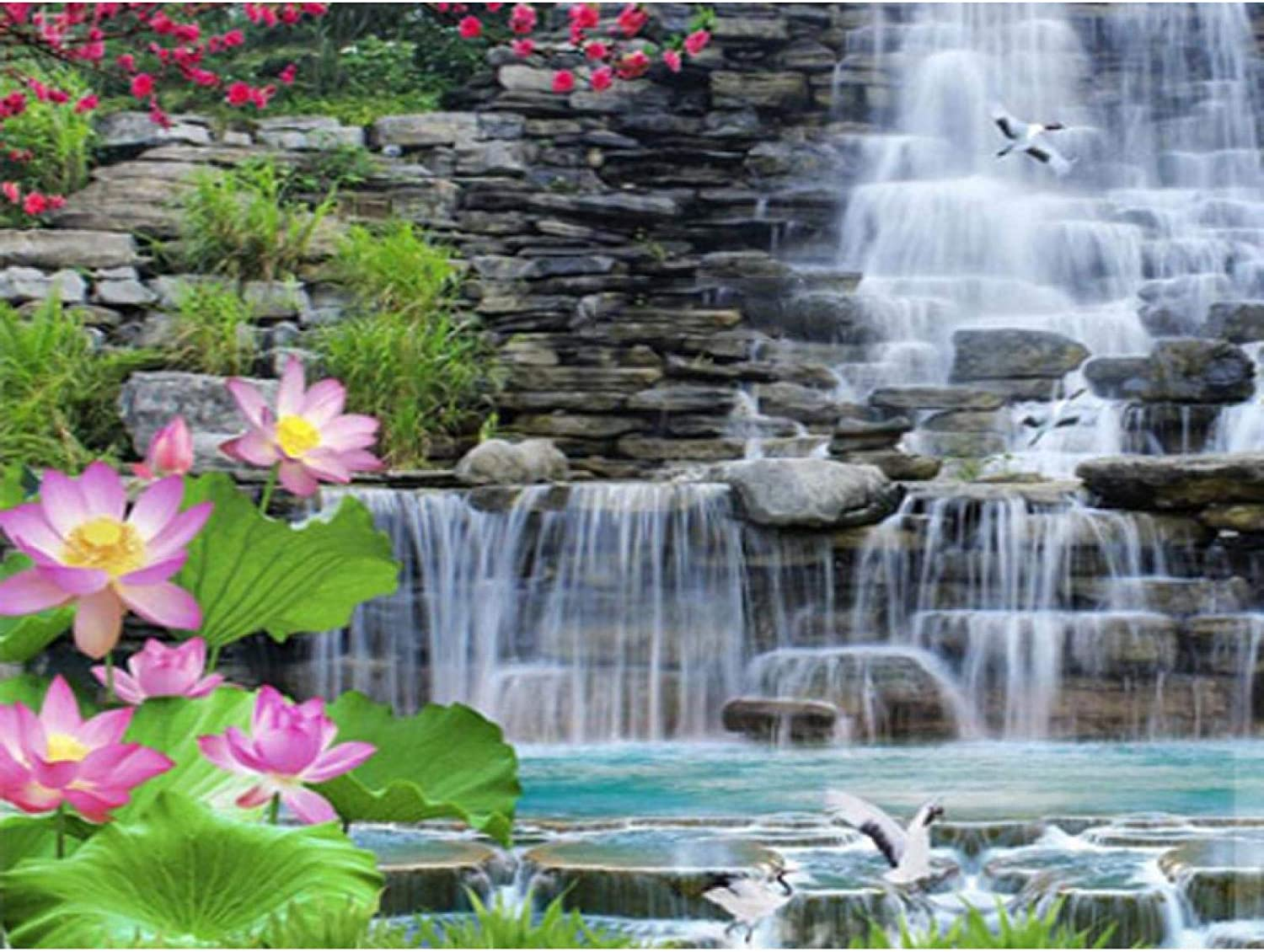 Jigsaw Puzzle 1000 Pieces for Kids Waterfall Seattle Mall Super special price Flower Adult Lotus