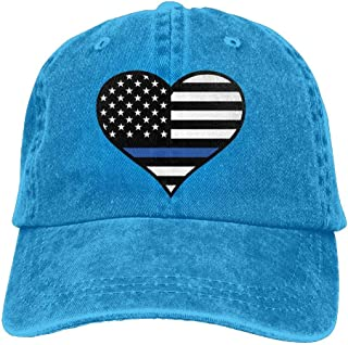 Men's/Women's Adjustable Vintage Jeans Baseball Cap Police Thin Blue Line Heart Trucker Cap