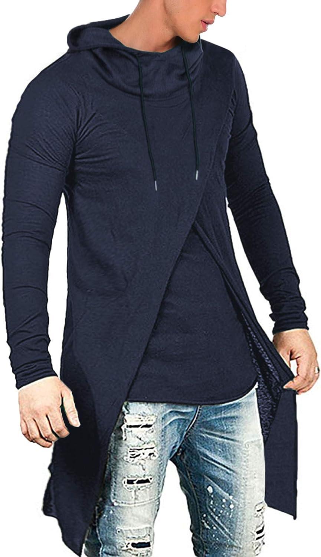 COOFANDY Men's Slim Fit Hoodie Lightweight Hooded Sweatshirt Casual Hip Hop Long Length Cloak Cotton Blend Pullover