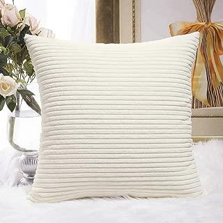HOME BRILLIANT Super Soft Striped Corduroy Velvet Decorative Euro Throw Pillow Sham Cushion Cover for Baby, 26x26 inch(66cm), Creamy White