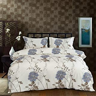 Floral Duvet Cover, Cotton Pintuck Duvet Cover and Shams 3pcs Bedding Set Floral Reversible Comforter and Easy Care, King Size