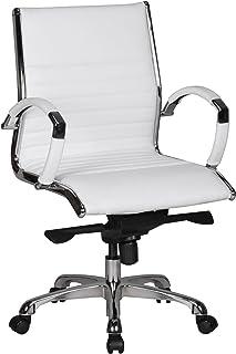 Amstyle de diseño de una Mesa de Escritorio de la Silla de Piel sintética con 5-Punto multibloque-Mecanismo de Roche 2, Piel, Blanco, 0