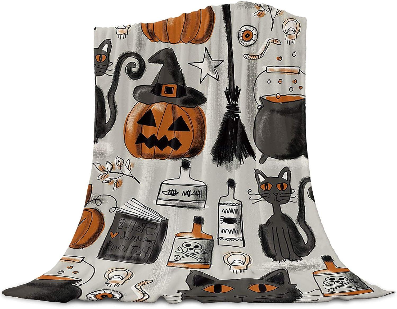 Funy service Decor Halloween Throw Blanket Pumpkin Regular dealer Soft with Witch Hat B