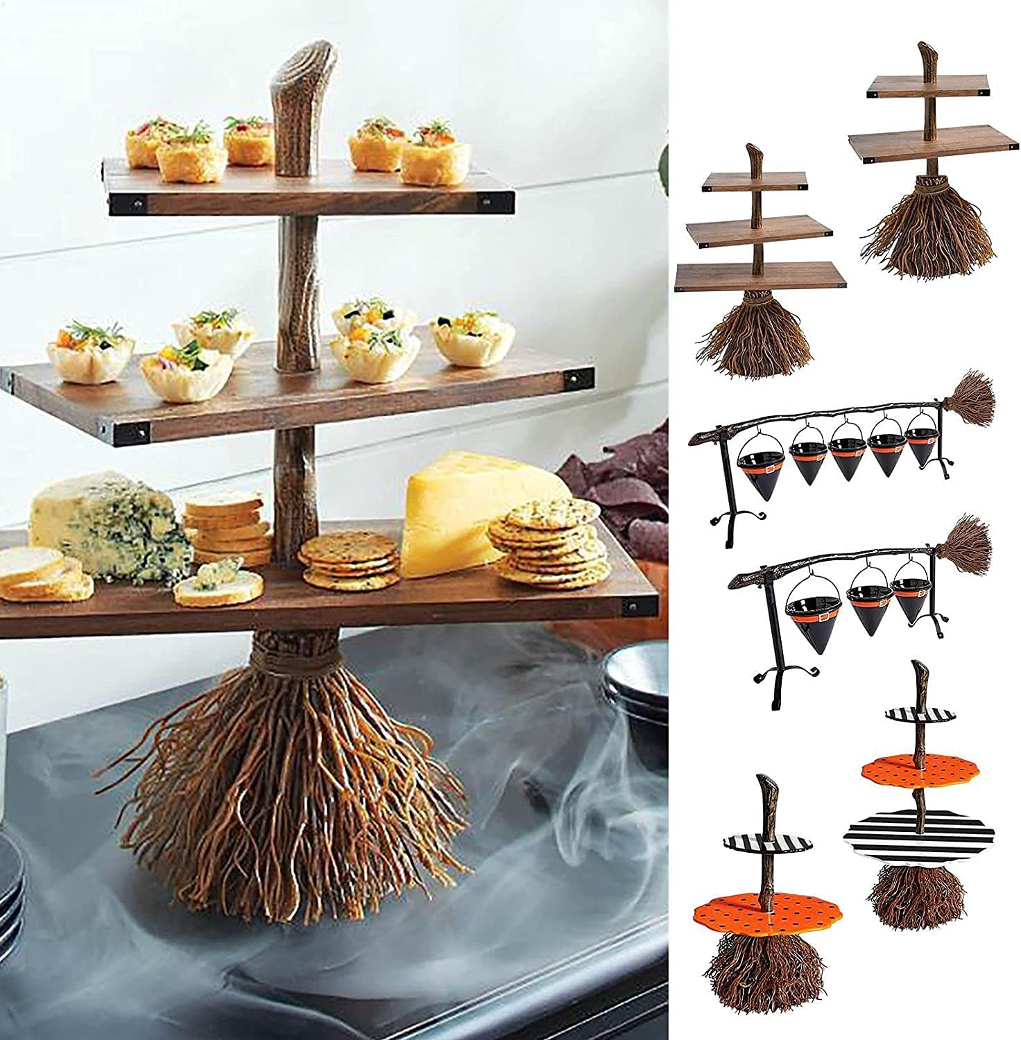 Halloween Witch Hat Snack Bowl Shelf, Broomstick Snack Bowl Stand with Removable Basket Organizer, Decoration Device for Halloween Family Party (D-3 tiers) : Home & Kitchen