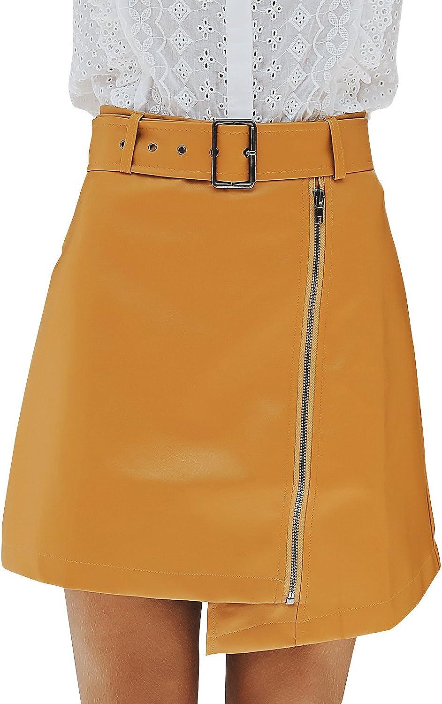 BerryGo Women's Casual High Waist Faux Leather Zipper A Line Mini Skirt