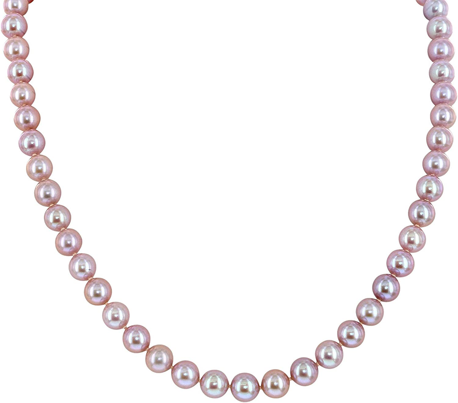 .925 Sterling Silver San Diego Mall AAAA Pink Freshwater Silk-Kn Nashville-Davidson Mall Cultured Pearl