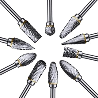 10 Pieces Rotary Burr Set Carving Bits Tool Tungsten Carbide Steel Solid Twist Drill Bit Grinding Head Shank Files Rasp fo...