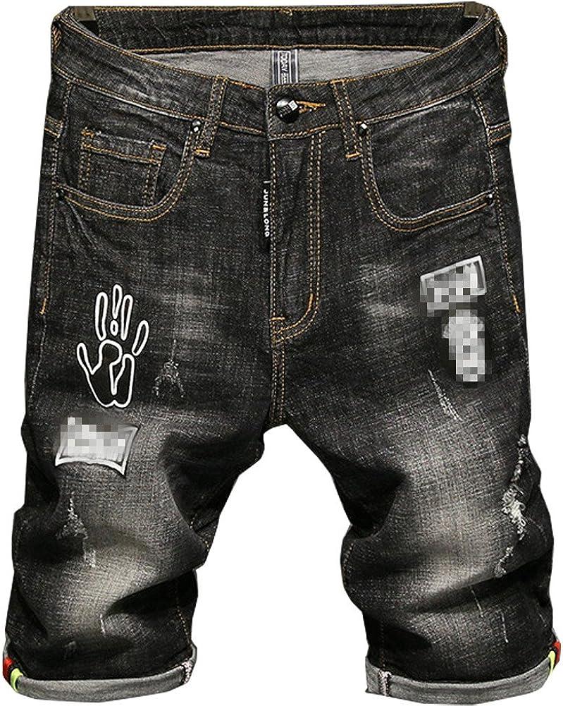 Shunht Men's Fashion Ripped Hole Denim Shorts Distressed Slim Fit Moto Biker Jeans Casual Shorts