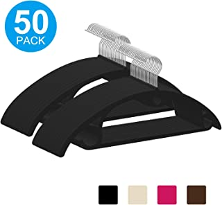IEOKE Velvet Clothes Hangers Non Slip, 50-Pack No Shoulder Bumps Suit Hangers Ultra Thin Space Saving 360 Degree Swivel Heavy Duty Hook Durable Hangers for Sweaters,Coat,Jackets,Pants,Shirts,Dresses