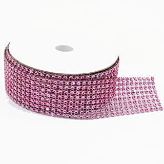 8 Rows 10 Yards 1.5 Inches 30 FT Sparkling Acrylic Rhinestone Ribbon Bling Diamond Mesh Wrap Trimming DIY Roll for Event Wedding Birthday Baby Shower Room Parties Crafts Projects (Pink)