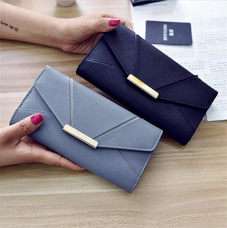 Ladies Handbag Women's PU Wallet Long Section Splicing Tri-fold Wallet Card Package Fashion Leisure Travel Shopping Elegant Large Capacity 9 Card Slots Purse (color   Couple)