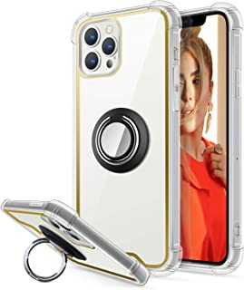 ACALANTHA Designed for iPhone 12 Case with 360 Rotation Ring Kickstand Drop Protection Colorful Bumper for Women and Clear...