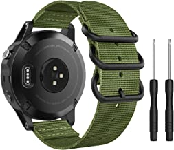 MoKo Band Compatible with Garmin Fenix 5, Fine Woven Nylon Adjustable Replacement Strap with Metal Buckle for Garmin Fenix 5/5 Plus/Instinct/Forerunner 935/Approach S60 Smart Watch- Army Green