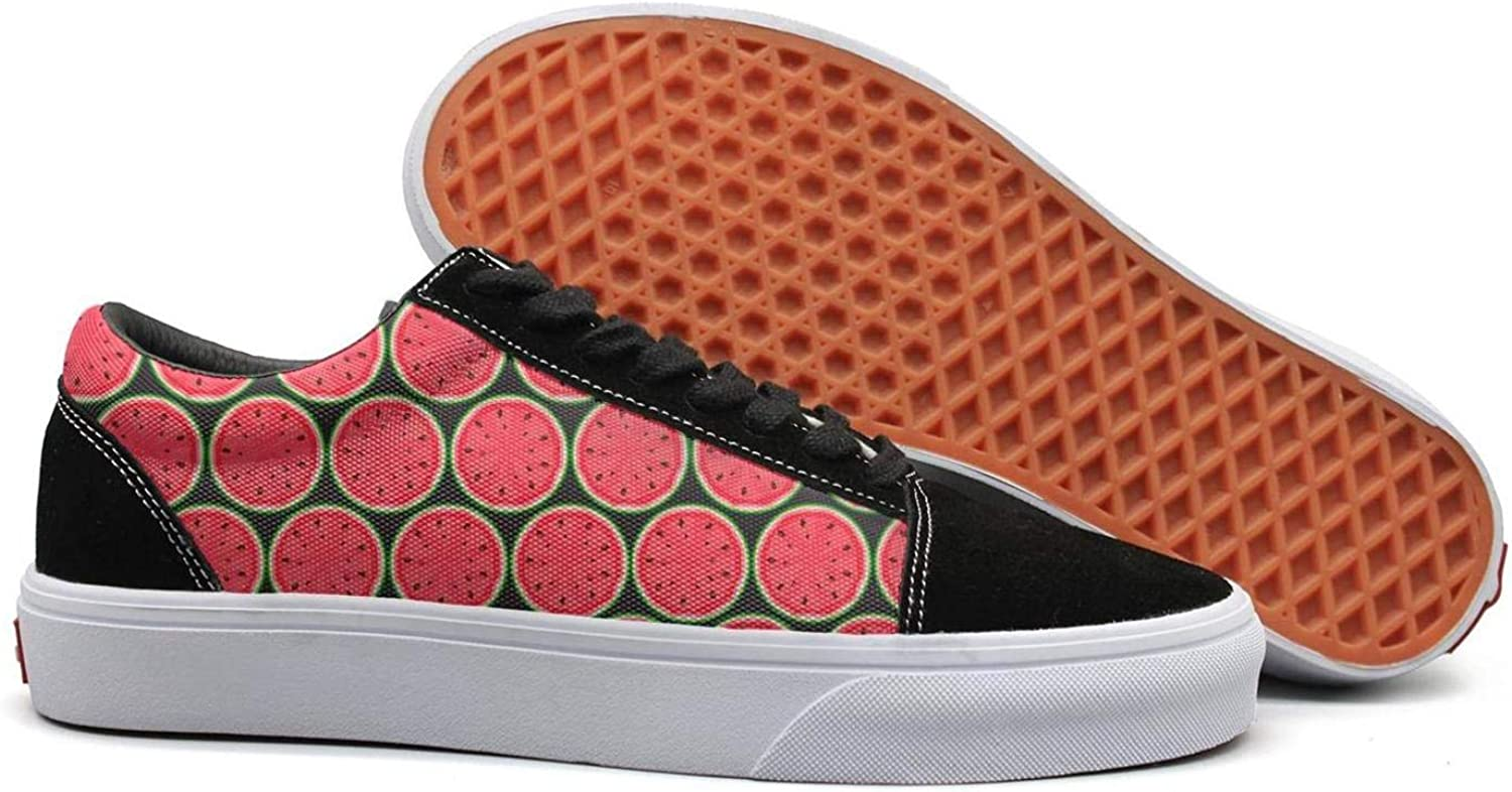 Watermelon Slices Fruit Womens Lace up Sneakers shoes Canvas Upper