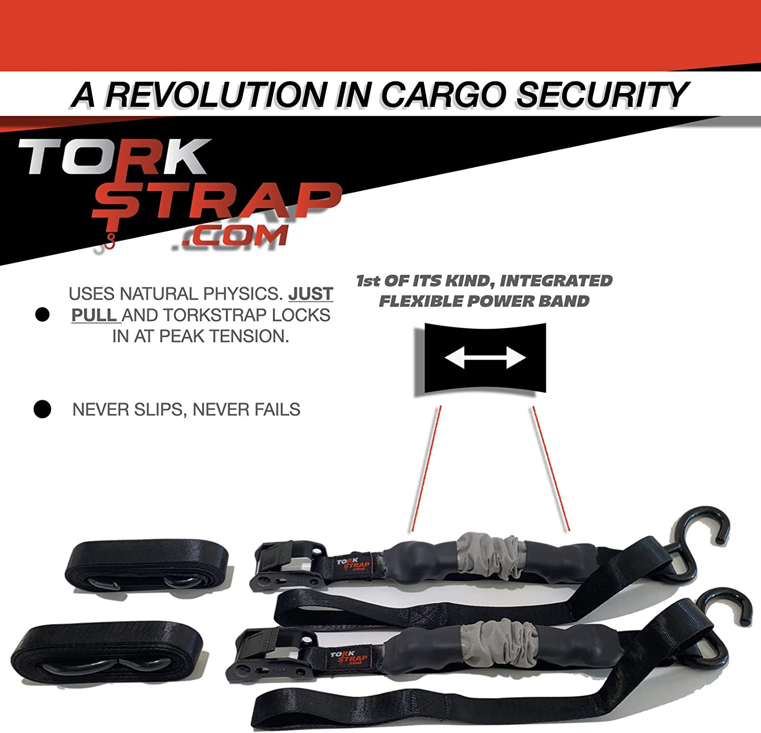 Like a Ratchet and Lashing Strap Combined 900lbs MIN Break Strength 300lbs Safe Work Load Never Slips Bungee Just Pull No Clunky Mechanisms Always Fits Medium Duty TorkStrap M300 Model 300