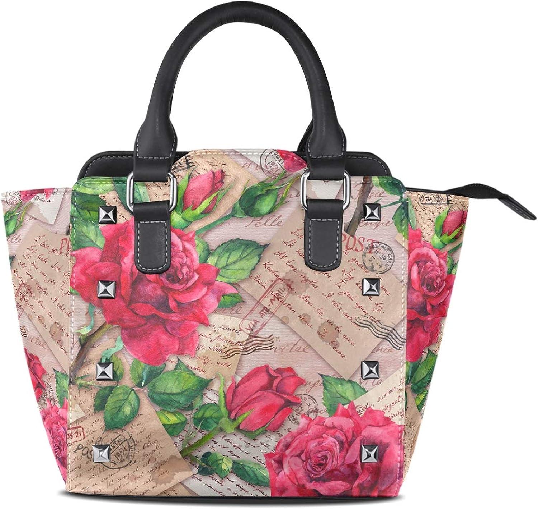My Little Nest Women's Top Handle Satchel Handbag Valentine Romantic Red pink Flowers Stamps Ladies PU Leather Shoulder Bag Crossbody Bag
