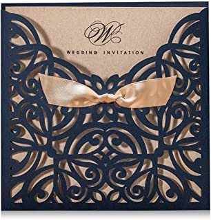 Wishmade Navy Blue Square Laser Cut Wedding Invitations Cards with Lace Bow Sleeve Cards for Engagement Birthday Quinceanera