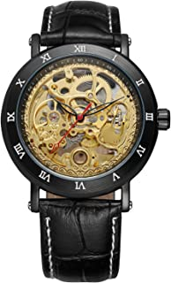 Mens Watch,STONE Stainless Steel Automatic Mechanical Watch Classic Skeleton Gold Case