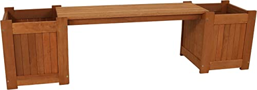 2021 Sunnydaze Meranti Wood high quality Outdoor 2021 Planter Box Bench with Teak Oil Finish - Furniture for Garden, Patio, Backyard, Porch and Deck - Wooden Outside Seating - 68-Inch sale