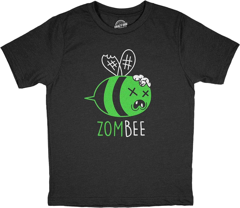 Youth Zombee Tshirt Funny Zombie Halloween Bumble Bee Novelty Graphic Tee