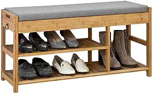SoBuy® FSR47-N Étagère à Chaussures avec Tiroirs Latéraux Banquette Siège pour Chausser Rangement Chaussure en Bambou L90xP30xH45cm