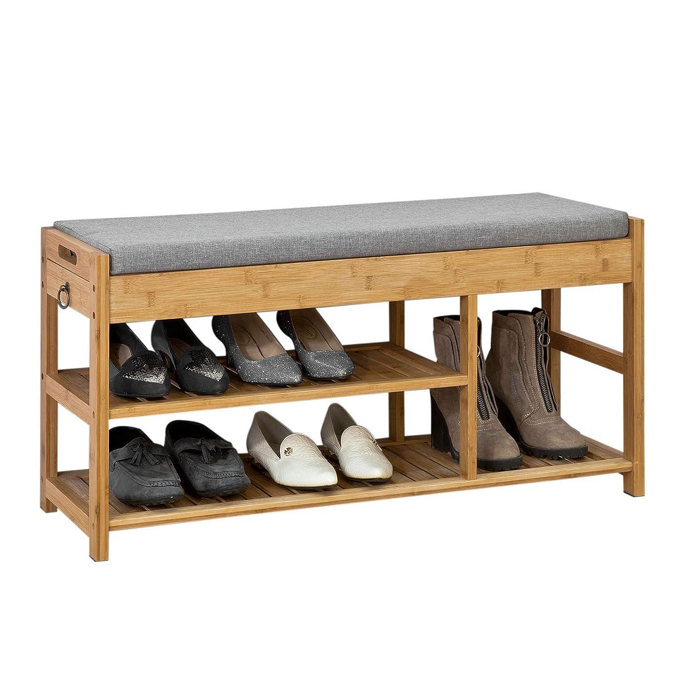 イルクラックポット配管工SoBuy FSR47-N 玄関ベンチ スツール 収納ベンチ 靴収納 玄関 収納付き ベンチ 竹製 ナチュラル 幅90cm
