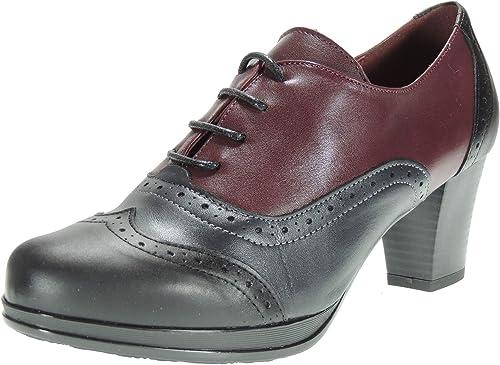 Abril 10528 Zapato Abotinado Piel Tacón Ancho 6.5Cm y Cordones Oxford para mujer