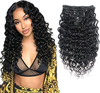 Curly Hair Extensions Clip in - 1B# 100g 8pcs Deep Wave Natural Hair Extensions for Women