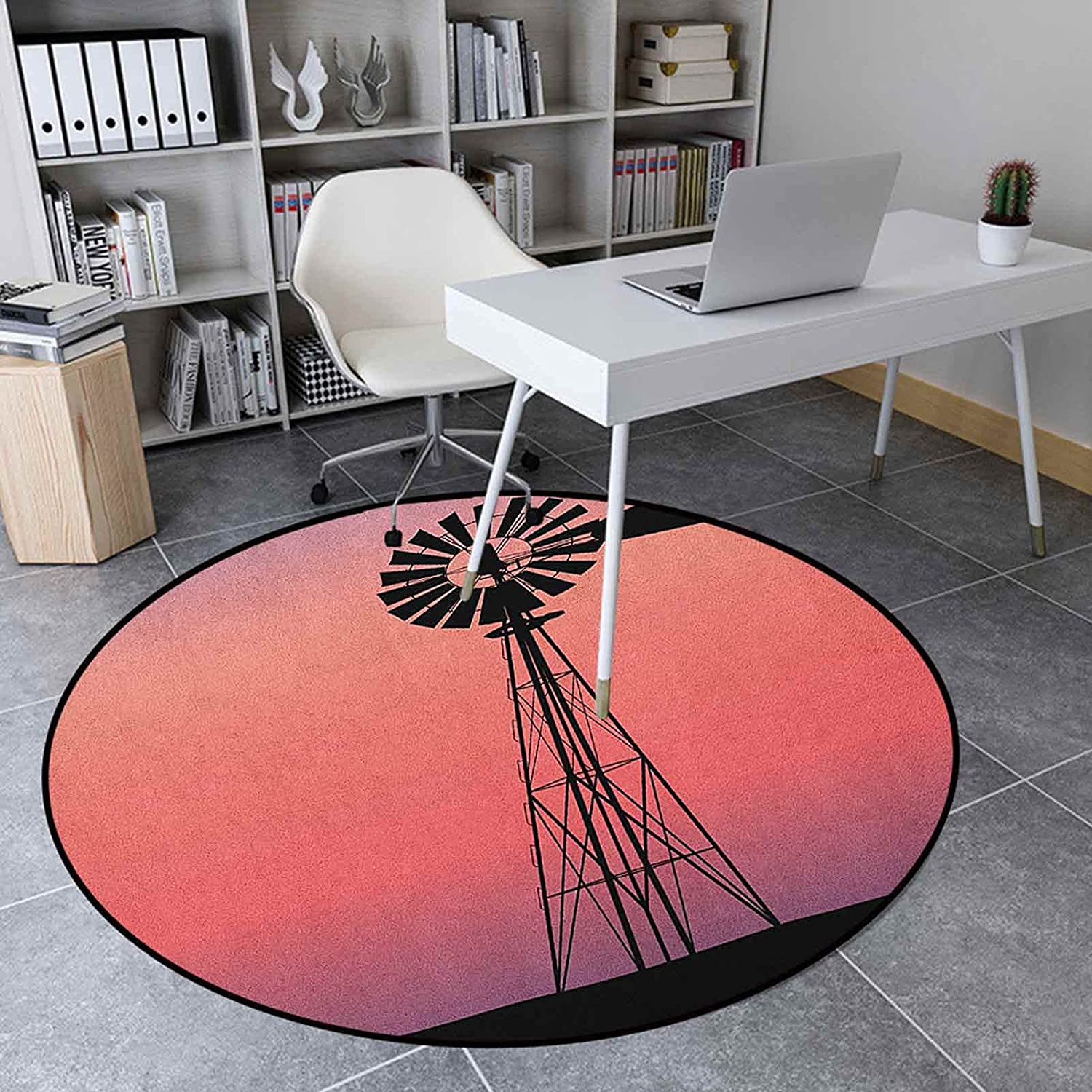 Windmill Round Rugs for Bedroom Floor Indoor Mat 4.9' New product Albuquerque Mall type