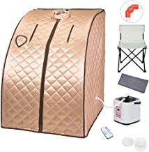 ZeHuoGe Portable Steam Sauna Kit SPA Detox 9-Level Temperature Adjustment 6-Level Time Setting 2L Steamer Digital Display Remote 220LBS Capacity of Chair US Delivery (Champagne Gold)