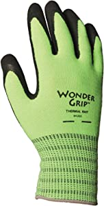 Wonder Grip WG320XL Extra Grip Insulated Seamless Knit Work Gloves, Double-Coated Black Latex Textured Palm, Superior Wet/Dry Grip, X-Large, Hi-Vis Green