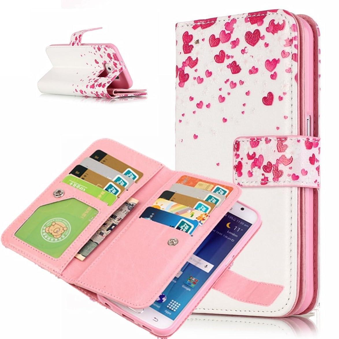 実行するミュウミュウアデレードUNEXTATI Galaxy S6 Edge ケース 高品質 PUレザー 手帳型ケース 保護カバー カード収納 液晶保護 防塵 Samsung GalaxyS6 Edge 用 Case Cover (P7 ピンク)